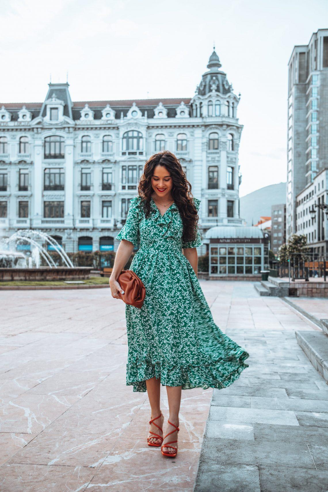 vestido verde flores